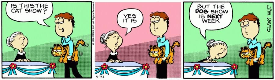 Оригинал комикса про Гарфилда от 31 марта 1980 года