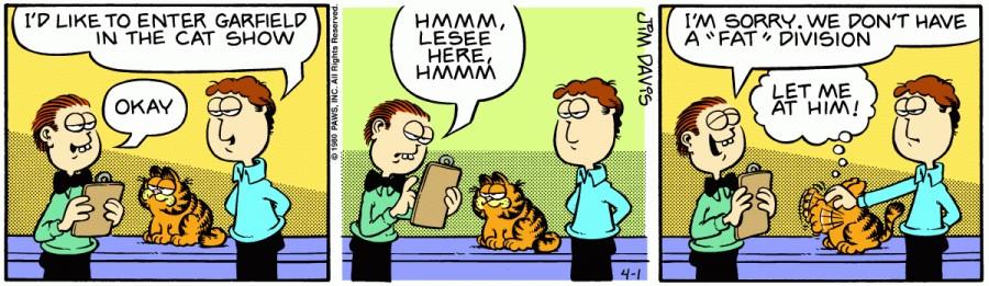 Оригинал комикса про Гарфилда от 01 апреля 1980 года