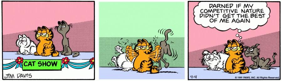 Оригинал комикса про Гарфилда от 04 апреля 1980 года