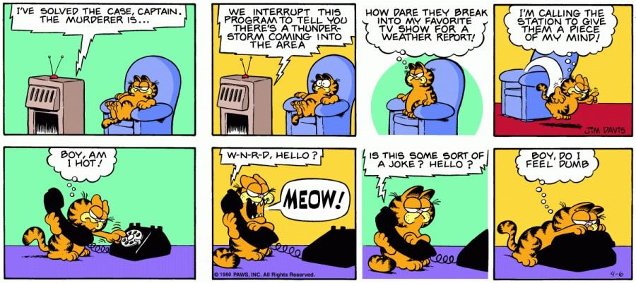 Оригинал комикса про Гарфилда от 06 апреля 1980 года