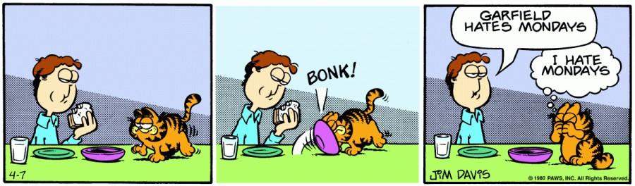 Оригинал комикса про Гарфилда от 07 апреля 1980 года