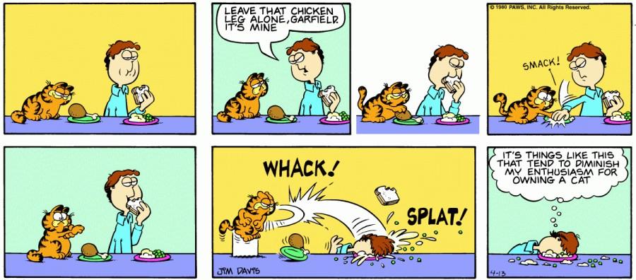 Оригинал комикса про Гарфилда от 13 апреля 1980 года