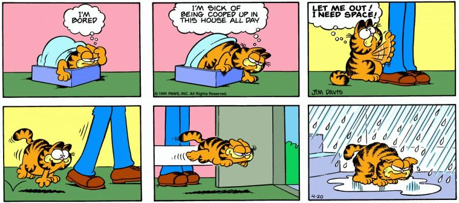 Оригинал комикса про Гарфилда от 20 апреля 1980 года