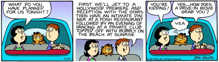 Оригинал комикса про Гарфилда от 24 апреля 1980 года