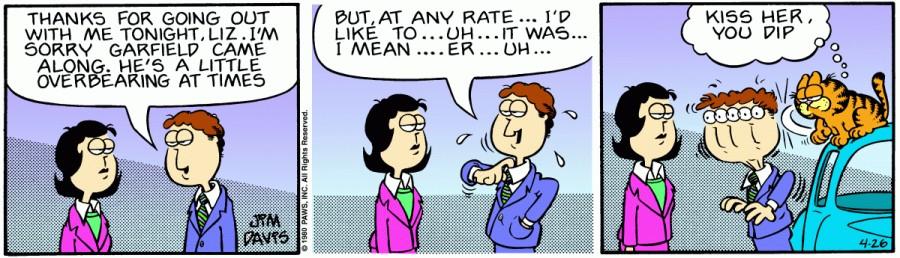 Оригинал комикса про Гарфилда от 26 апреля 1980 года