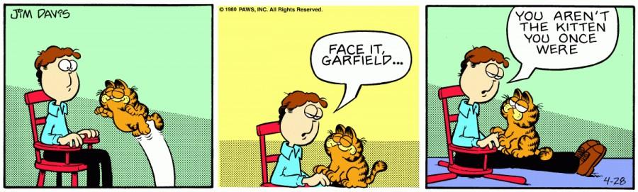 Оригинал комикса про Гарфилда от 28 апреля 1980 года