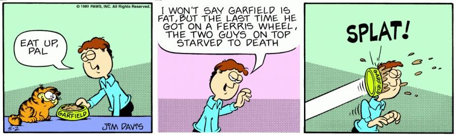 Оригинал комикса про Гарфилда от 02 мая 1980 года