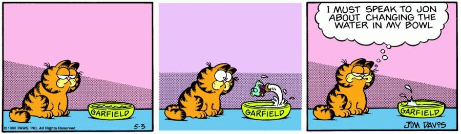 Оригинал комикса про Гарфилда от 03 мая 1980 года