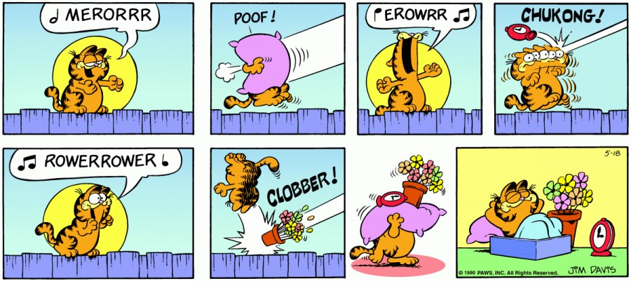 Оригинал комикса про Гарфилда от 18 мая 1980 года