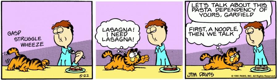 Оригинал комикса про Гарфилда от 22 мая 1980 года