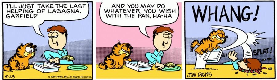 Оригинал комикса про Гарфилда от 23 мая 1980 года