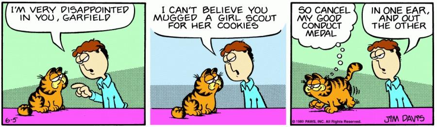 Оригинал комикса про Гарфилда от 05 июня 1980 года