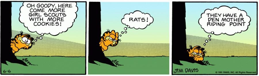 Оригинал комикса про Гарфилда от 06 июня 1980 года