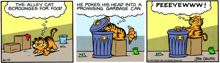 Оригинал комикса про Гарфилда от 10 июня 1980 года