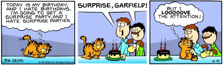 Оригинал комикса про Гарфилда от 19 июня 1980 года