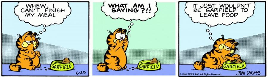 Оригинал комикса про Гарфилда от 23 июня 1980 года