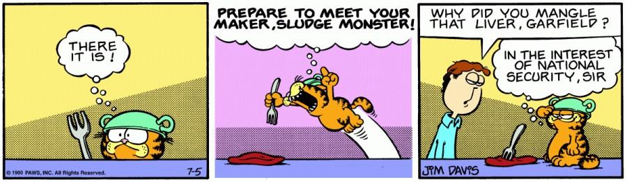 Оригинал комикса про Гарфилда от 05 июля 1980 года
