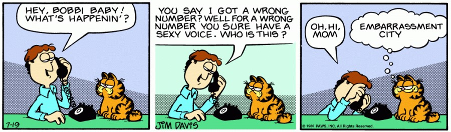 Оригинал комикса про Гарфилда от 19 июля 1980 года