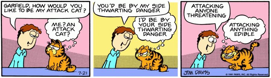 Оригинал комикса про Гарфилда от 21 июля 1980 года