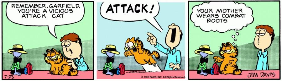 Оригинал комикса про Гарфилда от 23 июля 1980 года