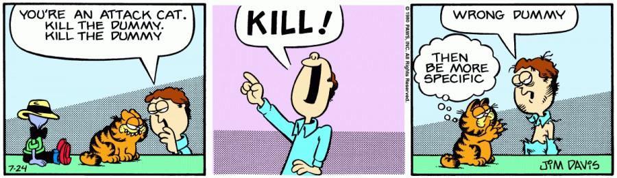 Оригинал комикса про Гарфилда от 24 июля 1980 года