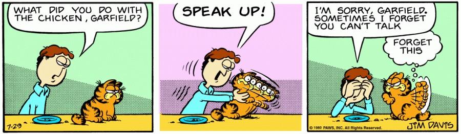 Оригинал комикса про Гарфилда от 29 июля 1980 года