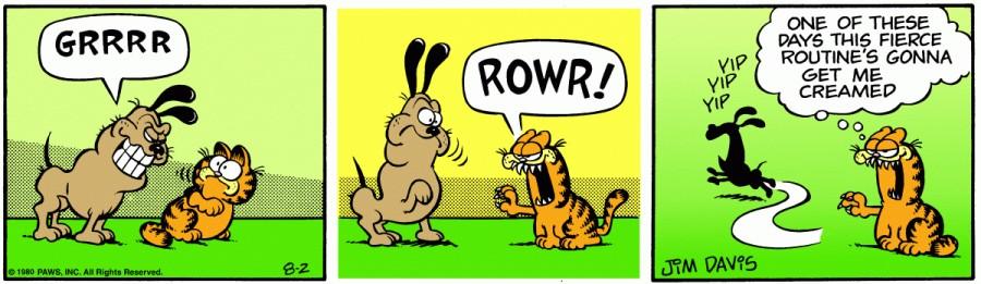 Оригинал комикса про Гарфилда от 02 августа 1980 года