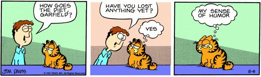 Оригинал комикса про Гарфилда от 06 августа 1980 года