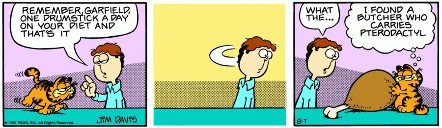 Оригинал комикса про Гарфилда от 07 августа 1980 года