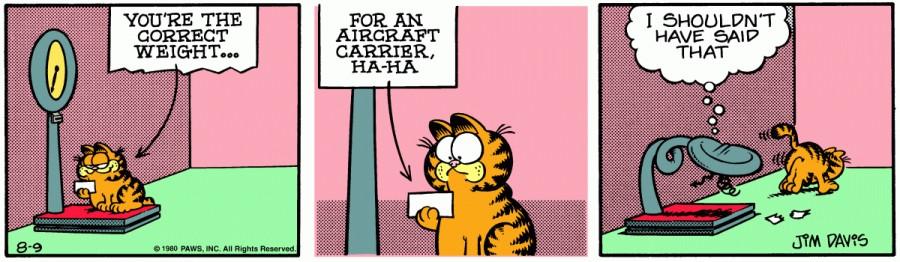 Оригинал комикса про Гарфилда от 09 августа 1980 года