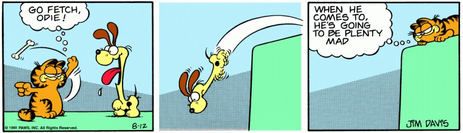 Оригинал комикса про Гарфилда от 12 августа 1980 года