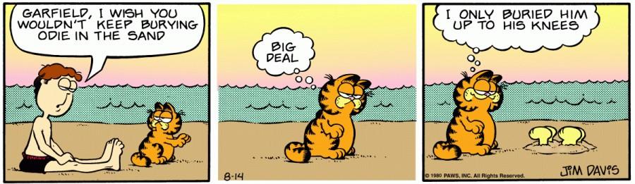 Оригинал комикса про Гарфилда от 14 августа 1980 года