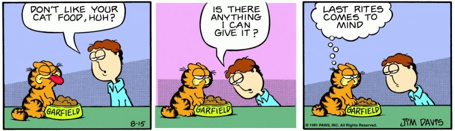 Оригинал комикса про Гарфилда от 15 августа 1980 года