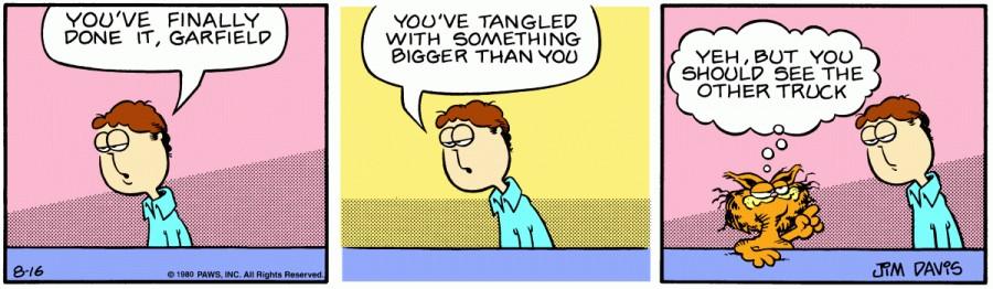 Оригинал комикса про Гарфилда от 16 августа 1980 года