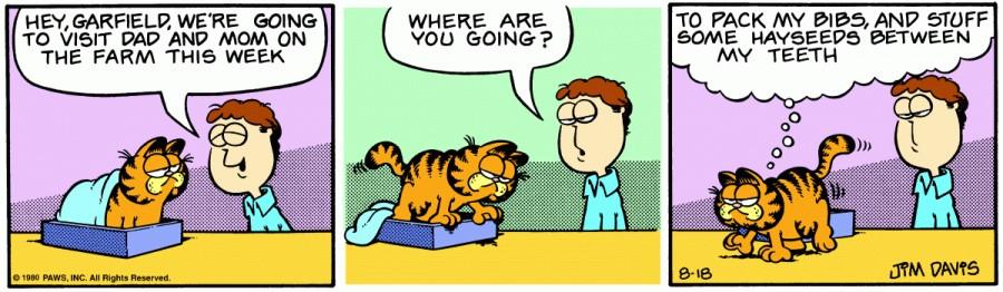 Оригинал комикса про Гарфилда от 18 августа 1980 года