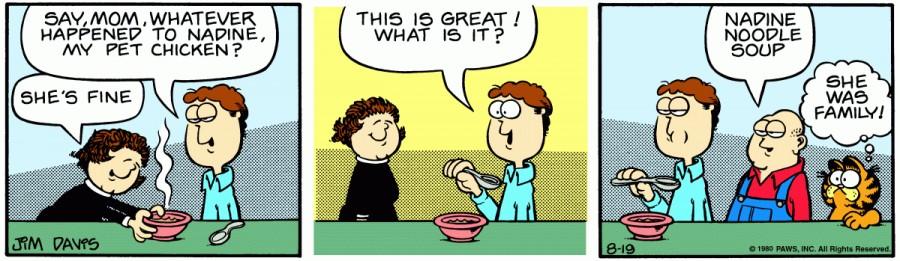 Оригинал комикса про Гарфилда от 19 августа 1980 года