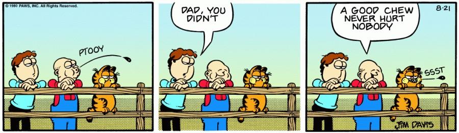 Оригинал комикса про Гарфилда от 21 августа 1980 года