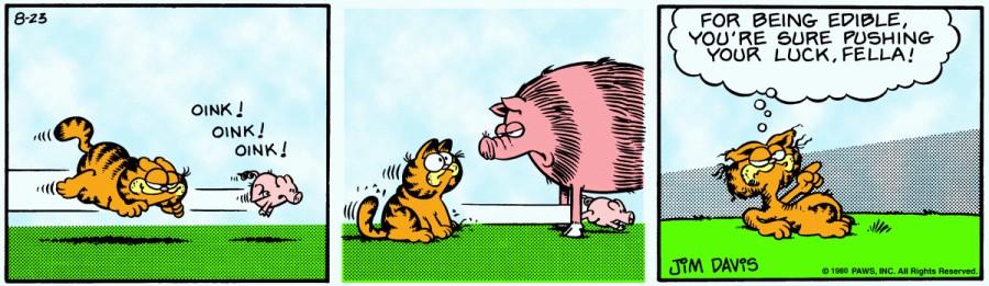 Оригинал комикса про Гарфилда от 23 августа 1980 года