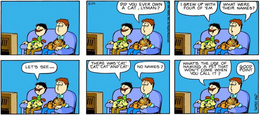Оригинал комикса про Гарфилда от 24 августа 1980 года
