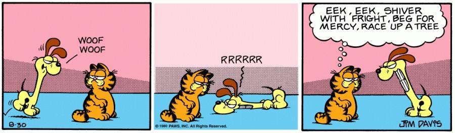 Оригинал комикса про Гарфилда от 30 августа 1980 года