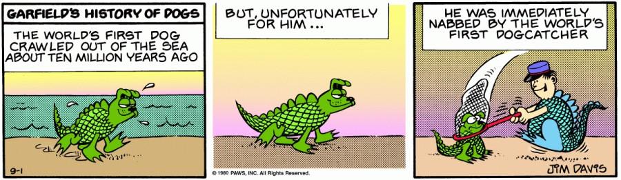 Оригинал комикса про Гарфилда от 01 сентября 1980 года
