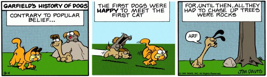 Оригинал комикса про Гарфилда от 04 сентября 1980 года