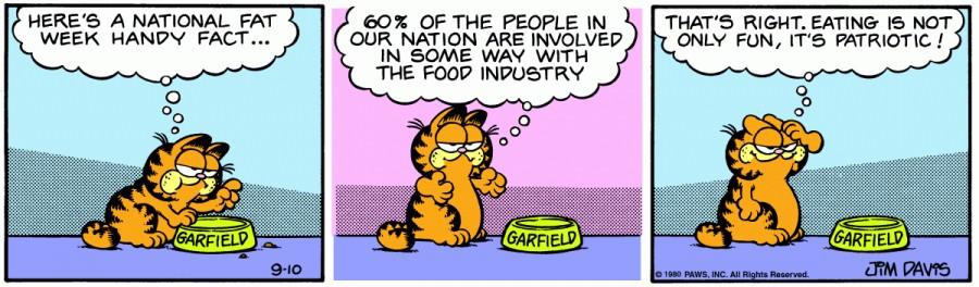 Оригинал комикса про Гарфилда от 10 сентября 1980 года