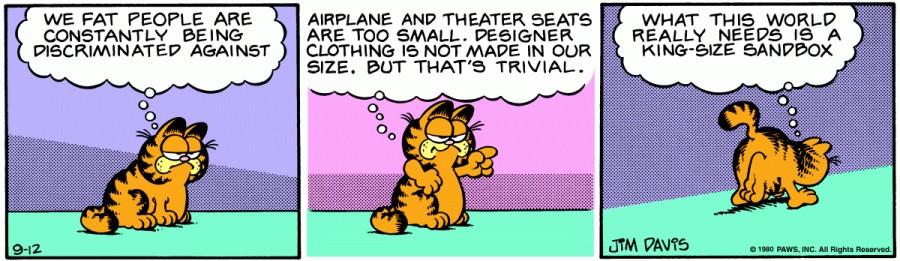 Оригинал комикса про Гарфилда от 12 сентября 1980 года