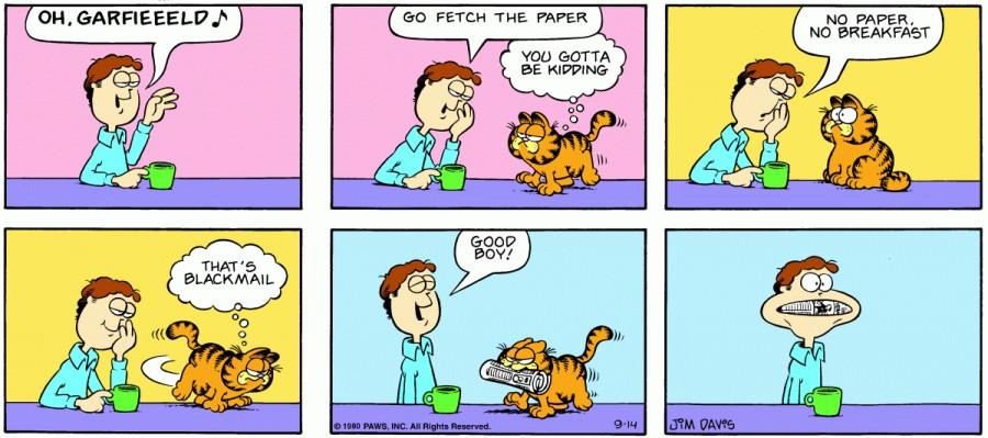 Оригинал комикса про Гарфилда от 14 сентября 1980 года