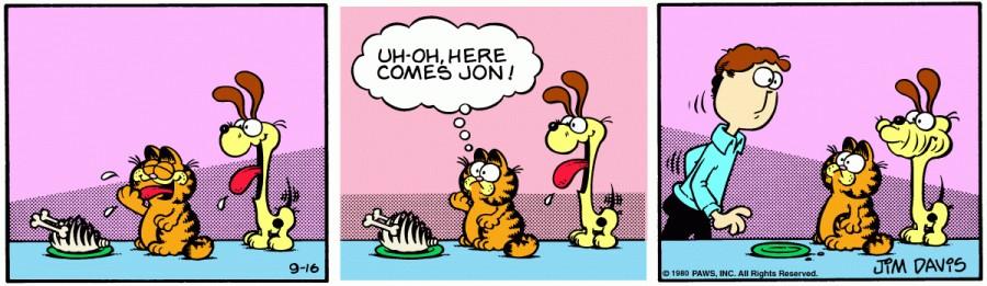 Оригинал комикса про Гарфилда от 16 сентября 1980 года
