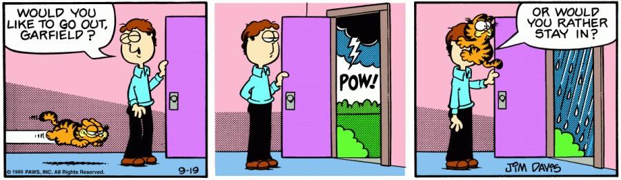 Оригинал комикса про Гарфилда от 19 сентября 1980 года