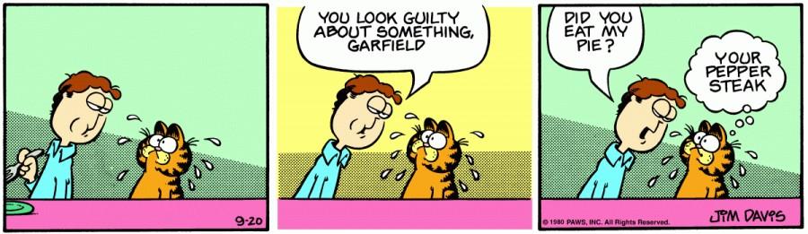 Оригинал комикса про Гарфилда от 20 сентября 1980 года