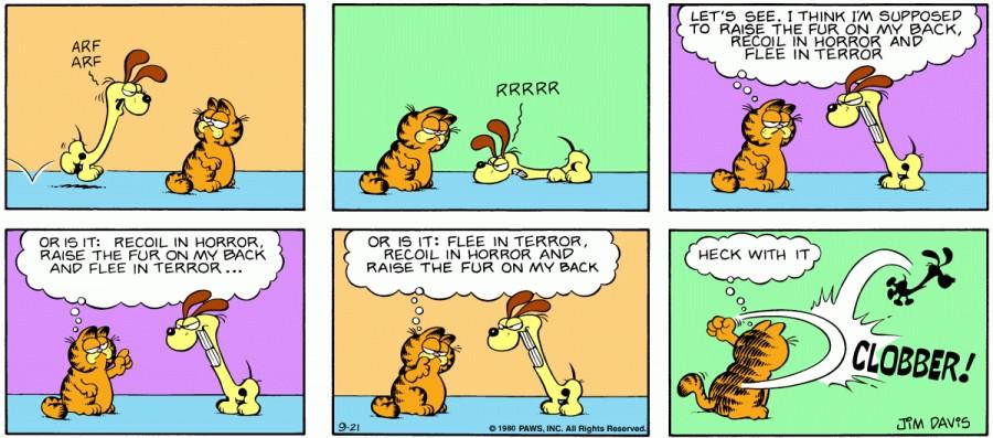 Оригинал комикса про Гарфилда от 21 сентября 1980 года