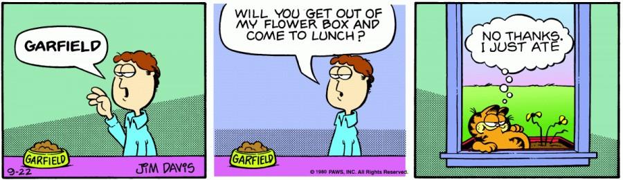 Оригинал комикса про Гарфилда от 22 сентября 1980 года